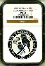 1999 S$1 Australia Kookaburra Spain Privy NGC MS68