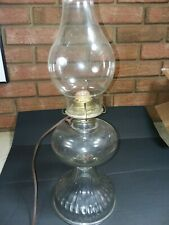 Vintage Clear Glass Beehive Oil Lamp Electrified