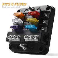 12/24V 6 Way Standard Blade Fuse Box Holder Block LED Indicator Dustproof Cover