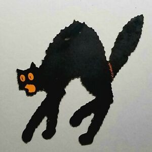 RARE Antique DENNISON ARCHED-BACK BLACK CAT Halloween Diecut VTG 20s Orange Eyes