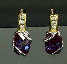 14K Two Tone Lab Grown Alexandrite and Diamond Earrings
