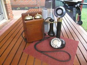 Antique PMG Candlestick with Walnut Bellset Telephone c.1920's
