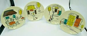 "Vintage MCM Inspired 6.5"" Plates Boston Warehouse Shopping / Cafe Scenes (4)"