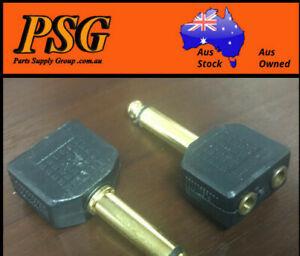 6.5mm MONO Male Plug to 2 x 3.5mm MONO Sockets Audio Adaptor x 10