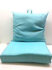 Mainstays Teal 24 x 22.7 in Outdoor Patio Deep Seat Cushion Set Aqua