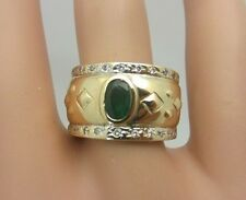 Vintage 14k Yellow Gold 0.50 CT Emerald and Diamond Ring Wide Band 0.72 CT TW