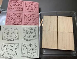 Stampin' Up! FABULOUS FOUR - Rubber Stamps Set of 4 - NEW (unmounted)