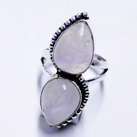 Rainbow Moonstone 925 Sterling Silver Plated Handmade Jewellery Ring UK Size-L
