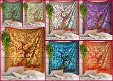 Indian tree of life mandala cotton tapestry twin bedspread wall hanging blanket