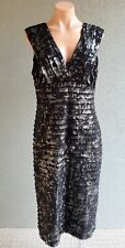 ❤️ QUEENSPARK Cocktail Tiered Dress Black Silver Size 14 Buy7=FreePost L591