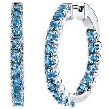 Sterling Silver London Blue Topaz Inside-Out Hoop Earrings 5 Carats