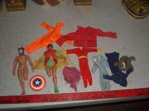 Vintage Mego Lot, Capt America & Robin, Damaged, + Cloths, Action Jackson +
