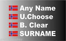 Rally Car Name decal sticker graphics with Norwegian Flag