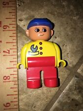 Vintage Duplo Mini Figure of Mechanic with Blue Hat / Yellow Shirt / Red Pants