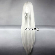 Silver White Long Straight Style Lovely Lady Anime Cosplay Hair Full Wig 100CM