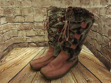 Ladies Moshulu Pink Suede & Acrylic Fur Pull On Low Heel Mid Calf Boots EU 39