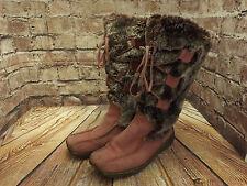 Ladies Moshulu Pink Suede & Acrylic Fur Pull On Low Heel Mid Calf Boots EU 39