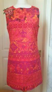 DESIGUAL Size 44 /UK 16 Orange Floral/Paisley/Tile Print Shift Dress- Sequins