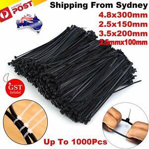 Cable Ties Zip Ties Nylon UV Stabilised 100/200/500/1000x Bulk Black Cable Tie