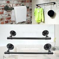 Industrial Towel Rail Rack Steampunk Bath Wall Mount Storage Holder Iron