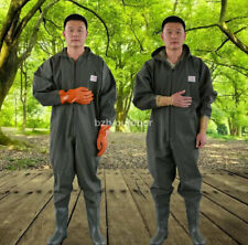 Unisex PVC Full Body Chest Wader Work Overalls Clothes Pants With Boots & Gloves