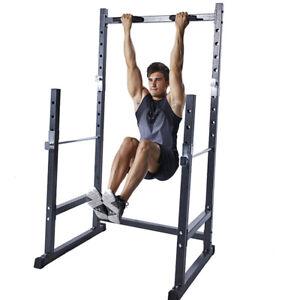 Bench Press Squats Power Half Squat Rack Lat Dip Bar Home Gym Fitness Rack Cage