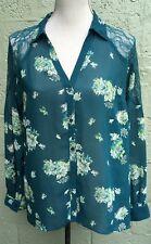 LC Lauren Conrad Sz L Semi Sheer Green Floral Button Front Shirt Blouse *Flaw.