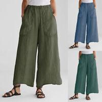 Women Harem Wide Casual Waist Oversize Elastic ZANZEA Pants Baggy Trousers Legs