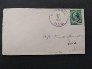 Illinois: Victoria 1888 #213 Cover, Violet CDS & Fancy Shield Cancel