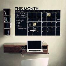 Monthly Chalkboard Chalk Blackboard Wall Sticker Decor Month Plan Calendar Memo