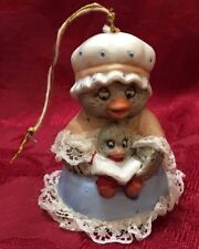 Chicken Mama Baby Chick Lace Bell Jasco Taiwan figurine Christmas Ornament Vtg