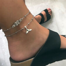 Multilayer FishTail Silver Anklet Ankle Bracelet Barefoot Sandal Beach JewelryVB