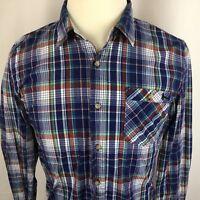 Modern Amusement Mens Medium Long Sleeve Button Front Plaid Shirt Cotton