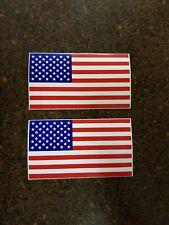"(2x) 4"" American Flag Sticker Die Cut Decal Usa Gloss Finish Vinyl 'Merica Brand"