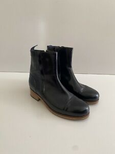 Beau Coops 39 Leather Ankle Zip Up Navy Boots Made In Italy