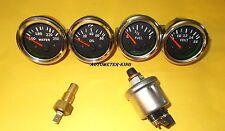 With Oil+temp Sender 52mm Electrical Oil Pressure + Temp + Volt + Fuel Gauge-BLK