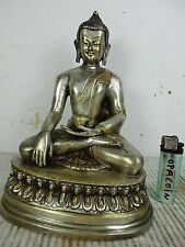 alter Buddha Einzelstück Silber-Bronze  Tibet ~1960 Mit Siegel keine Kopie 22cm
