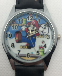 Mario Watch With Analog Face. Faux Leather Strap. Boys Or Men