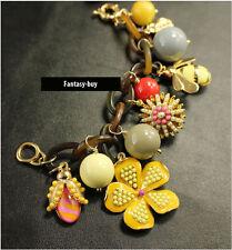 Gorgeous beaded enamel flower bee drop bee cuff bracelet chain