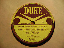 EARL FOREST/ Pretty Bessie / Whoopin' & Hollerin' / DUKE 78 RECORD R-108