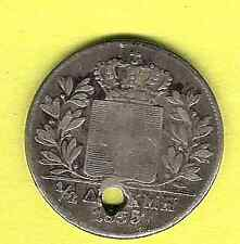GREECE - 1855 - 1/2 DRACHMA SILVER COIN - KING OTHON / KING OTTO - F/FINE - HOLE