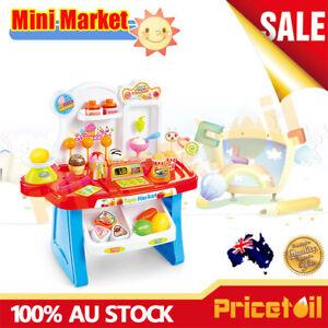 Kids Cash Register & Accessories Food & Money Supermarket Shopping Pretend Toy