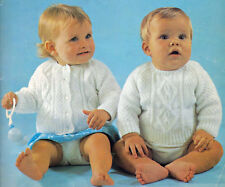 BABY DOUBLE KNIT CARDIGAN & JUMPER KNITTING PATTERN 19 to 22 INCH (1488)