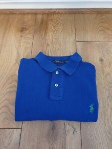 Mens Ralph Lauren Blue Short Sleeve Polo Shirt Size - Large Slim Fit