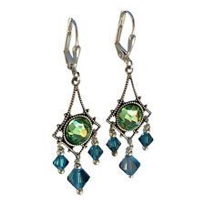 Vintage Filigree Chandelier Earrings Simulated Peridot and Indicolite Crystals