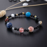 Weave Bracelet Gift Galaxy Solar System Eight Planets Theme Natural Stone Beads