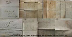 1810 - 1850's GB QV Pre Stamp Entire Letters Wrappers Free Fronts Cutouts Multi