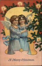 Christmas - Angel Children Lighting Candle on Tree c1910 Postcard
