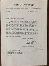 K1g Civic Trust Letter To Professor Pritchard From Patrick Stirling 1968