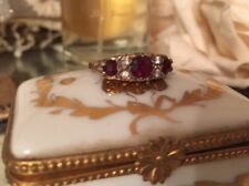 Vintage Garnet Ring Sterling Silver Vermeil Fancy Setting 6 To 6 1/2